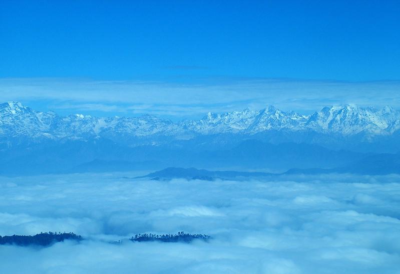 Snow Covered Himalaya Mountain Ranges Binsar