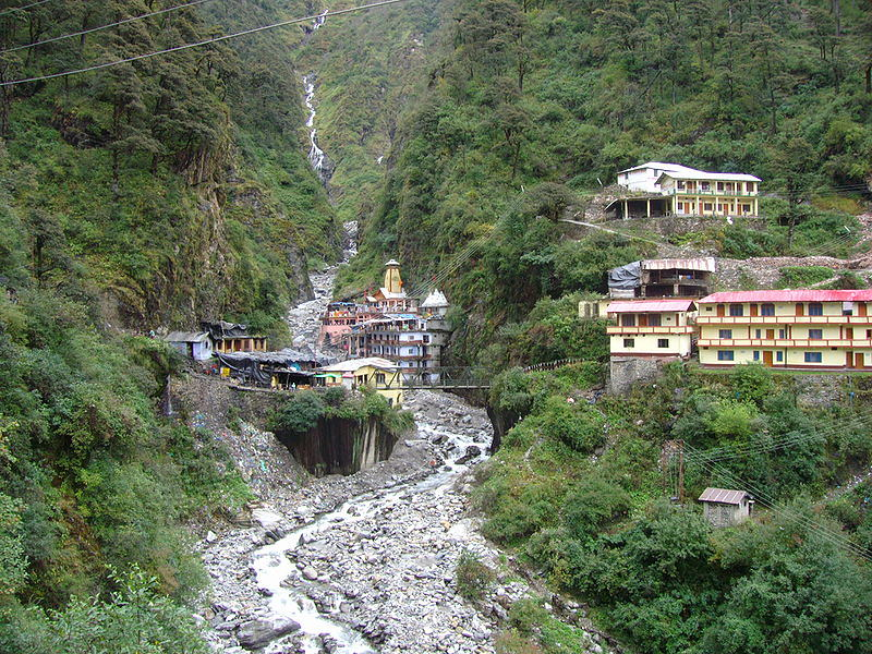 Valley and River with Homes Yamunotri